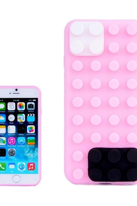 Building Block Texture Silicone case for iPhone 6 Plus(Pink)