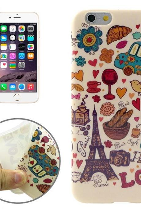 Paris Style Pattern Transparent Frame TPU Case for iPhone 6 Plus & 6S Plus
